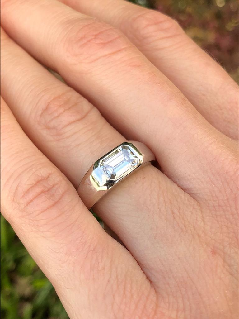 Diamond Ring Emerald Cut Platinum Unisex GIA Certified 1.16 Carat E/IF For Sale 1