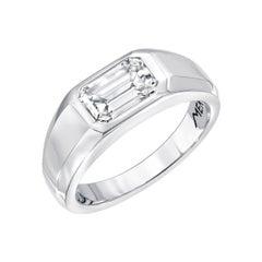 Diamond Ring Emerald Cut Unisex GIA Certified 1.13 Carat H Color VS1 Clarity