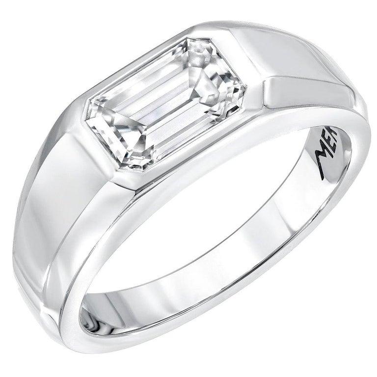 Modern Diamond Ring Emerald Cut 1.70 Carat D Color VVS2 Clarity For Sale
