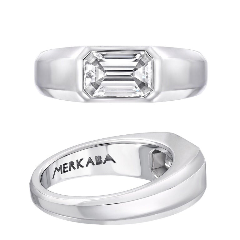 Diamond Ring Emerald Cut 1.70 Carat D Color VVS2 Clarity For Sale 1