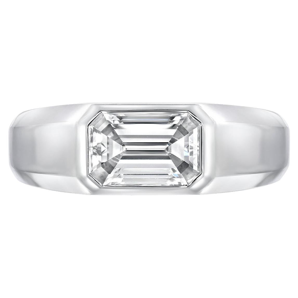 Diamond Ring Emerald Cut 1.70 Carat D Color VVS2 Clarity