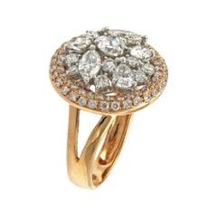 Diamond Ring Fancy Cut Engemaent Ring 18k Rose Gold