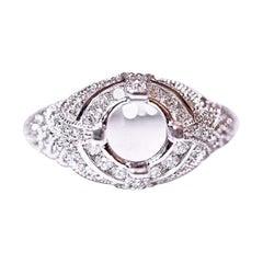 Diamond Ring Fashion Ring 14 Karat White Gold Antique Design .96 Carat