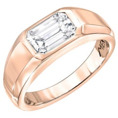 Diamond Ring Emerald Cut 1.03 Carat GIA Certified E Color VVS1 Clarity Rose Gold
