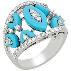 Diamond Ring in 18 Karat White Gold with Turquoise