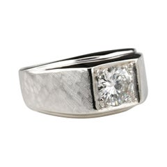 Diamond Ring in Swanky Textured White Gold, circa 1950s