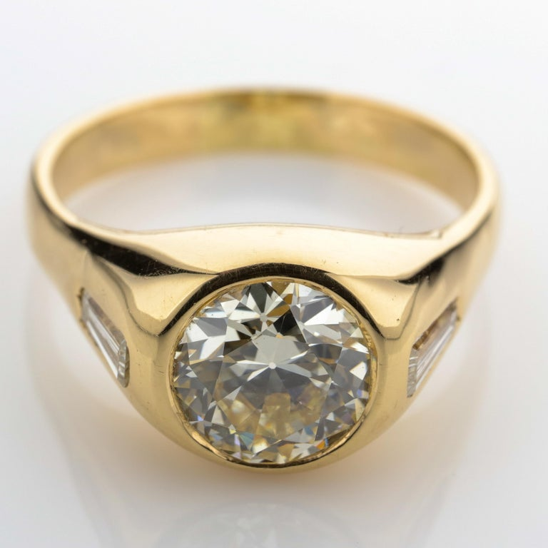 Old European Cut Diamond Ring Men's 2 Carat European-Cut Midcentury Sleek, Powerful For Sale