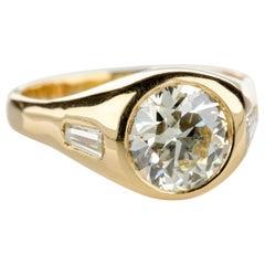 Diamond Ring Men's 2 Carat European-Cut Midcentury Sleek, Powerful