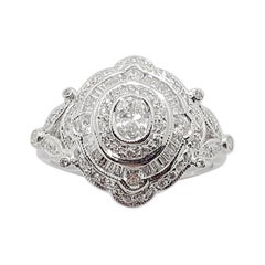 Diamond Ring Set in 18 Karat White Gold Settings