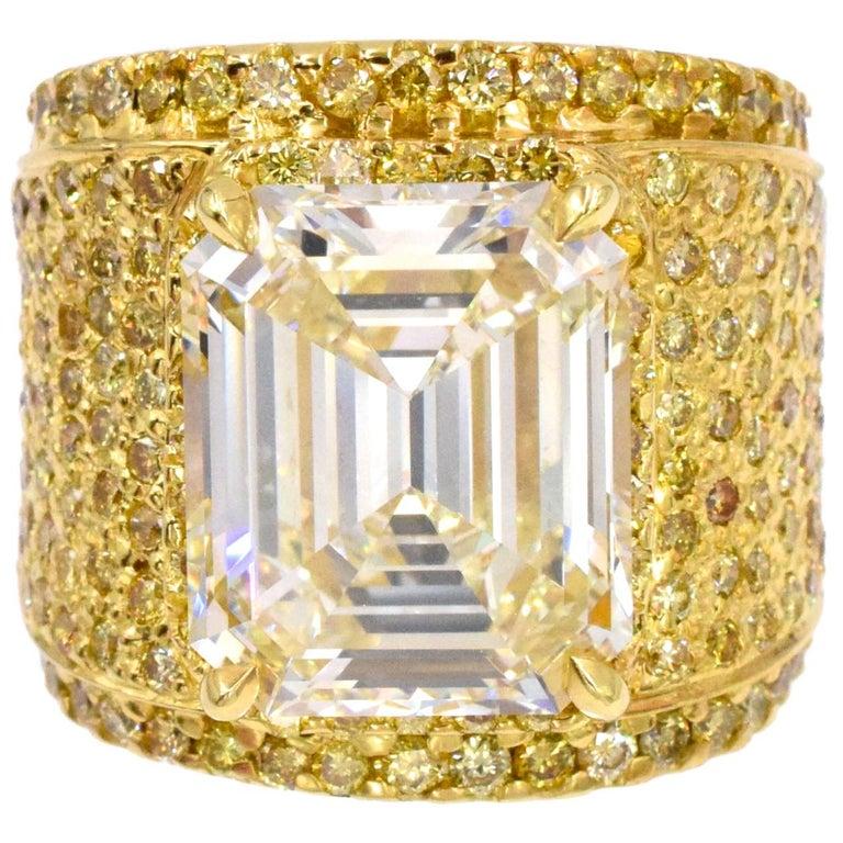 NALLY 10.44 Carat Emerald-Cut Diamond Ring  For Sale