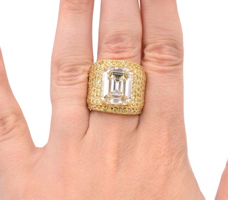 Emerald Cut NALLY 10.44 Carat Emerald-Cut Diamond Ring  For Sale