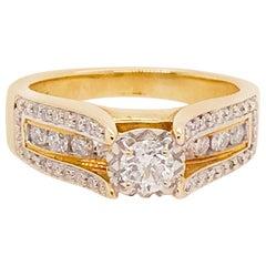 Diamond Ring with Round Brilliant Diamond and Diamond Band 14 Karat Gold