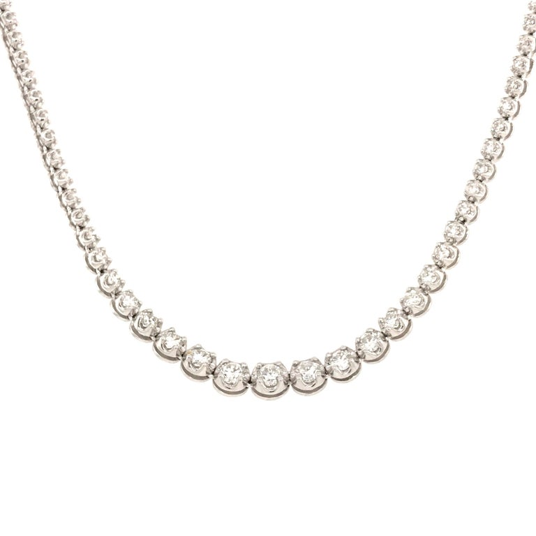 Round Cut Diamond River Necklaces White Gold 18 Karat For Sale