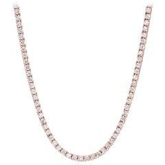 Diamond Riviera Necklace 4.68 Carat F VS2 Rose Gold