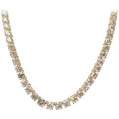 Diamond Riviera Necklace in 18 Karat Yellow Gold 49.89 Carat