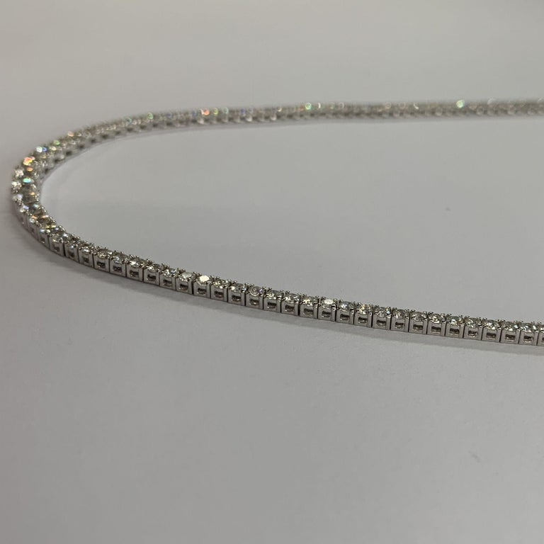 Diamond Riviera Necklace made with real/natural brilliant cut diamonds. Total Diamond Weight: 3.40 carats. Diamond Quantity: 103 round diamonds. Color: G-H. Clarity: VS2-SI1. Mounted on 18kt white gold with security closure.