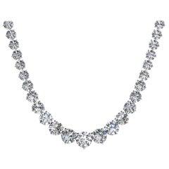 Diamond Riviera Three Claws 18 Karat White Gold Tennis Line Necklace 18 Kt