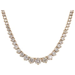 Diamond Riviere Necklace 8 Carat 14 Karat Yellow Gold