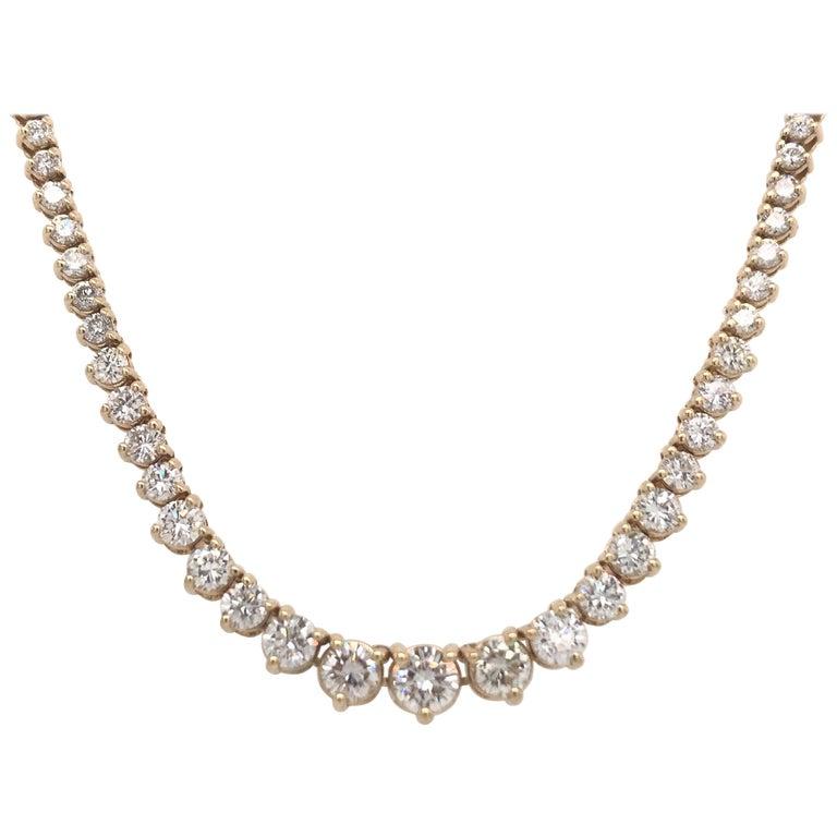 Diamond Riviere Necklace 8 Carat 14 Karat Yellow Gold For Sale