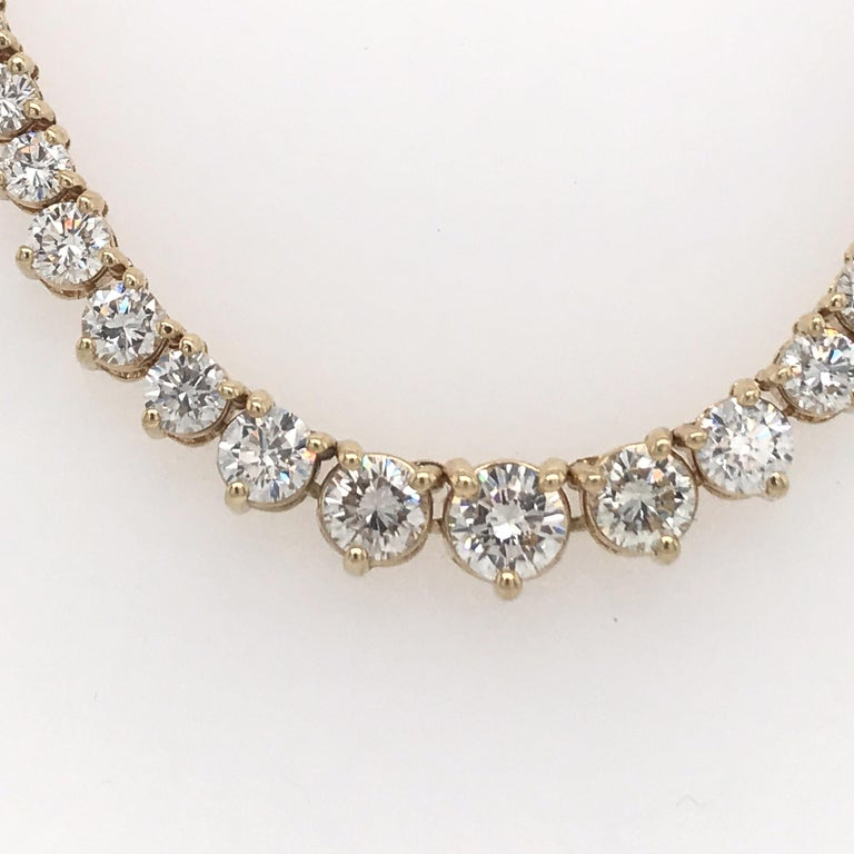 Graduated diamond riviere necklace featuring 161 round brilliants weighing 8 carats in 14k yellow gold. Color G-H Clarity SI  Can custom make any size.