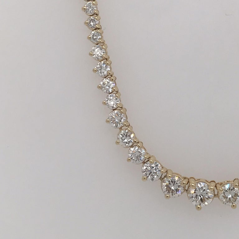 Contemporary Diamond Riviere Necklace 8 Carat 14 Karat Yellow Gold For Sale