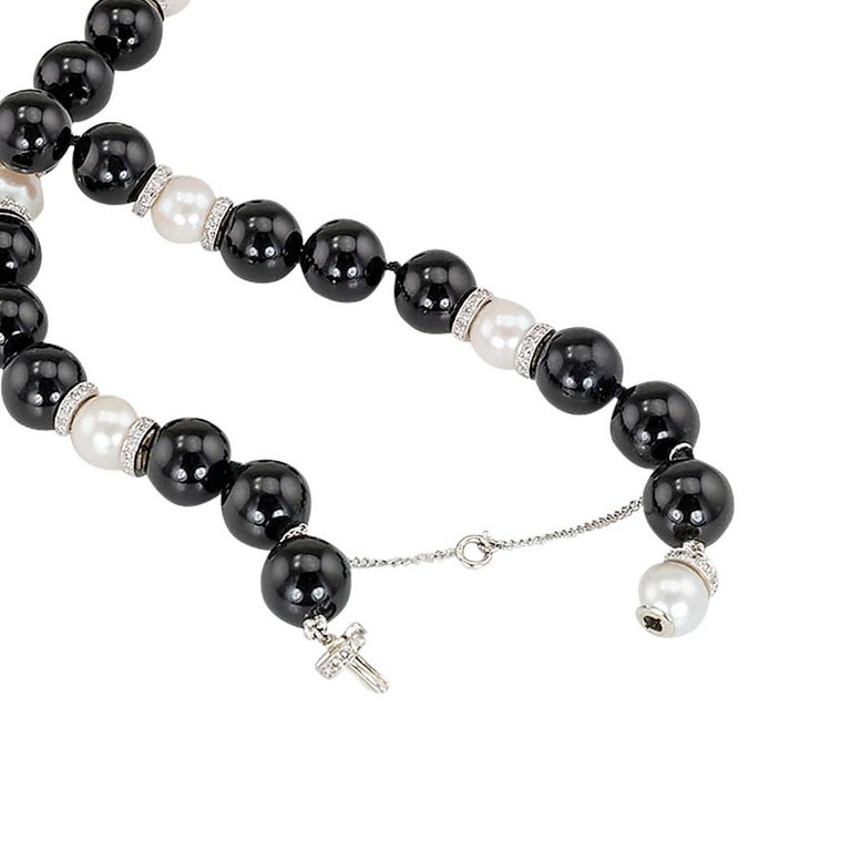 Round Cut Diamond Rondelle Black Onyx Pearl White Gold Bead Necklace For Sale