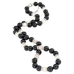 Diamond Rondelle Black Onyx Pearl White Gold Bead Necklace