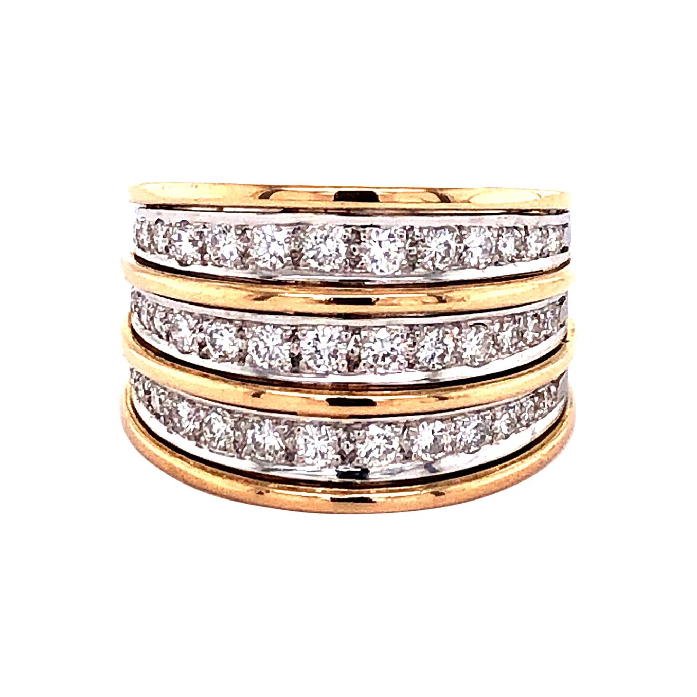 Diamond Rose and White Gold 750 Ring
