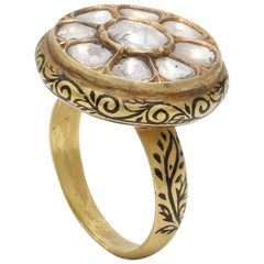 Diamond Rose Cut Ring Handcrafted in 18 Karat Yellow Gold with Black Enamel Work