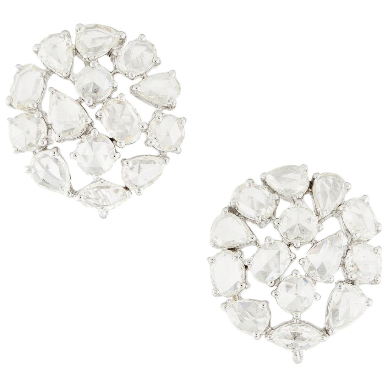 Diamond Rose Cut Round Earrings, 18 Karat White Gold