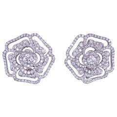 Harbor D. Diamond Rose Floral Earrings 3.15 Carat 18 Karat White Gold