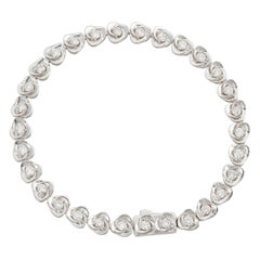 Diamond Rose Flower Line Eternity Bracelet 1.72 Carats 14k White Gold