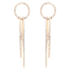 Diamond Rose Gold 18 Karat Hoop Earrings 2.4 Carat
