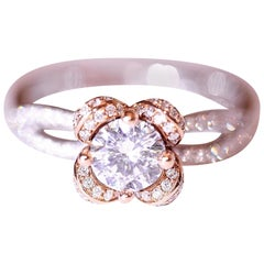 Diamond Rose Gold and White Gold Engagement Ring Right Hand Ring 18 Karat