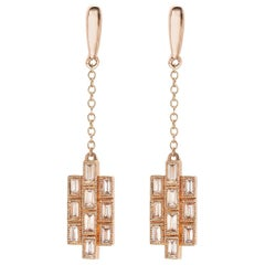 Diamond Rose Gold Drop Earrings