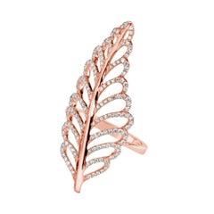 Diamond Rose Gold Leaf Ring 0.62 Carat