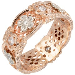 Diamond Rose Gold Pierced Retro Eternity Band Ring