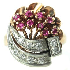 Diamond Rose Gold Platinum Flower Bouquet Ring