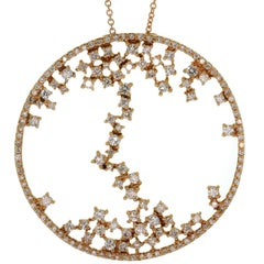 Diamond Rose Gold Round Pendant Necklace