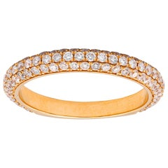 Diamond Rose Gold Three-Row Curved Band