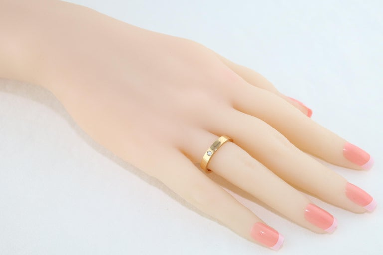 Round Cut Diamond Rose Gold Wedding Band with Inscriptions For Sale