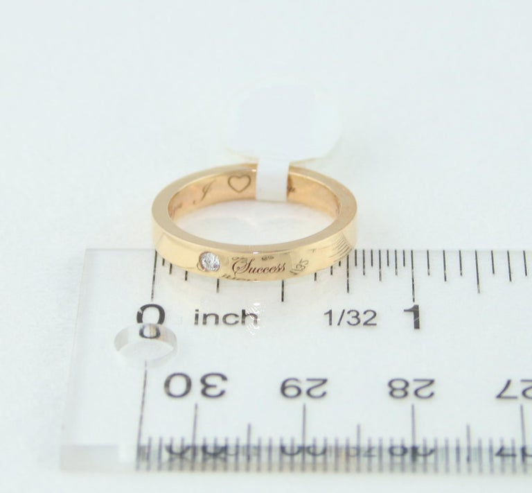 Diamond Rose Gold Wedding Band with Inscriptions For Sale 1