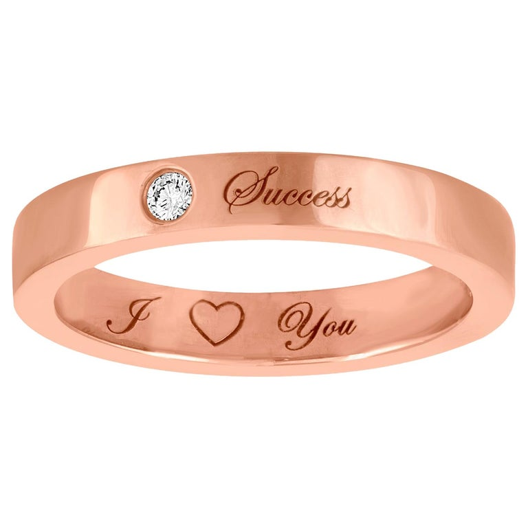 Diamond Rose Gold Wedding Band with Inscriptions For Sale