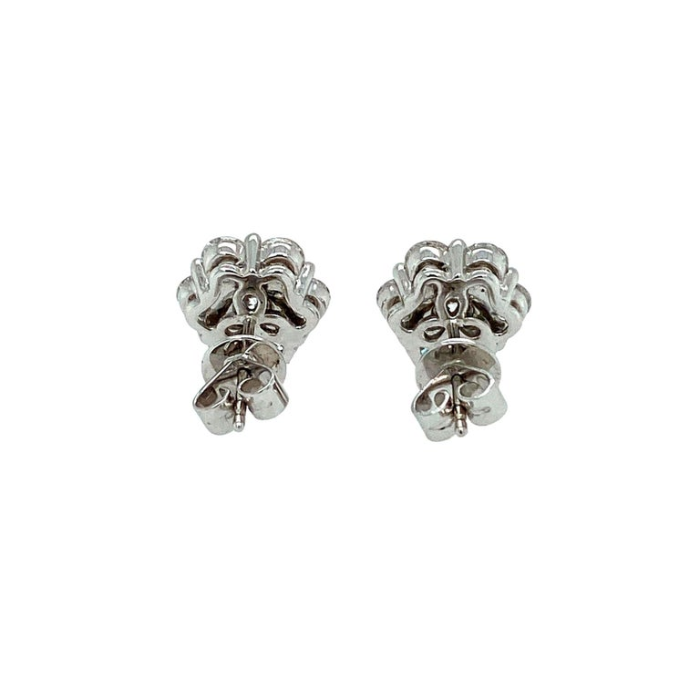Contemporary Diamond Rose Shaped Stud Earrings For Sale
