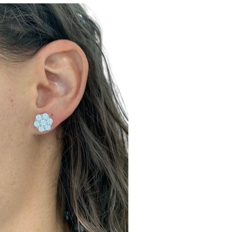 Brilliant Cut Diamond Rose Shaped Stud Earrings For Sale