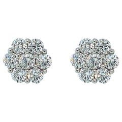 Diamond Rose Shaped Stud Earrings