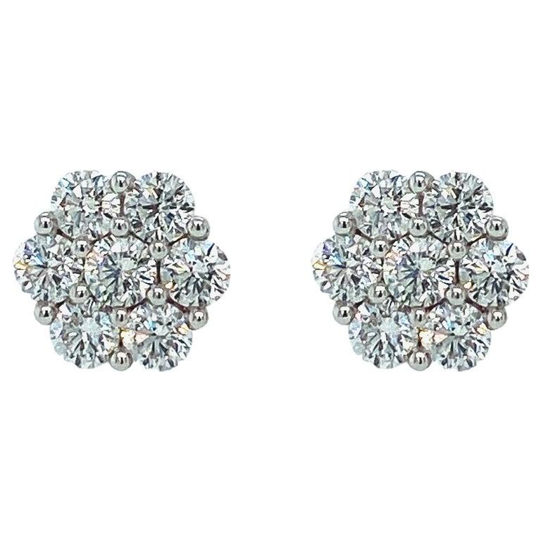 Diamond Rose Shaped Stud Earrings For Sale