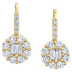 Diamond Round Baguette Cluster Drop Lever Back Yellow Gold Earrings