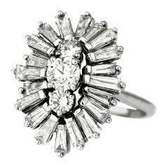 Diamond Round and Baguette Cocktail Cluster 3-Stone Ring in 18 Karat White Gold
