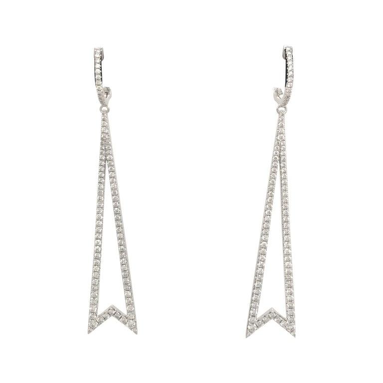 Diamond Round Brilliant Drop Earrings 1.78 Carat 18 Karat White Gold For Sale
